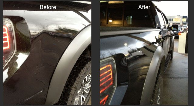 Black truck before and after