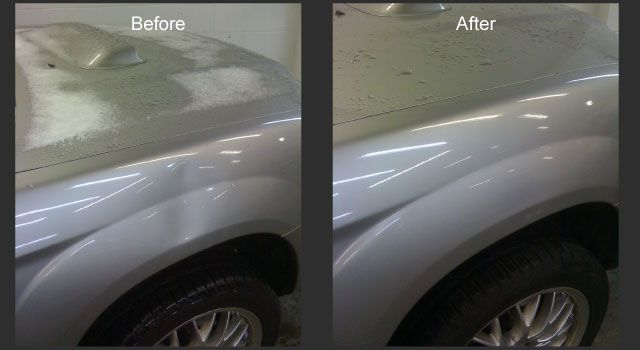 Grey car before and after